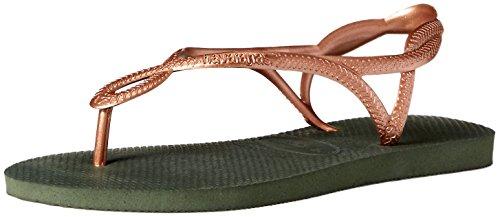 Havaianas Kids' Luna Flip Flop, Around Ankle Straps, Roman Sandal, Green Olive, 5-6 M US