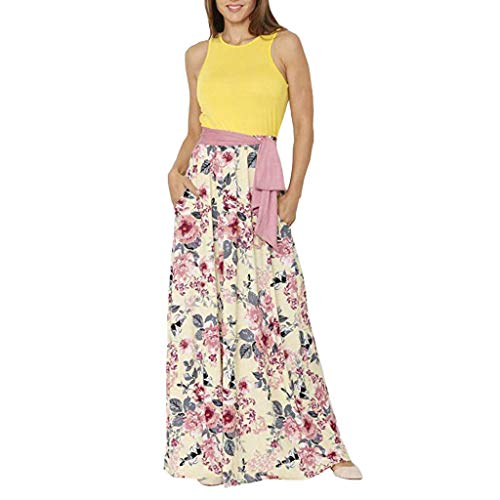 Women Casual Loose Pocket Long Dress Sleeveless O-Neck Split Maxi Dresses