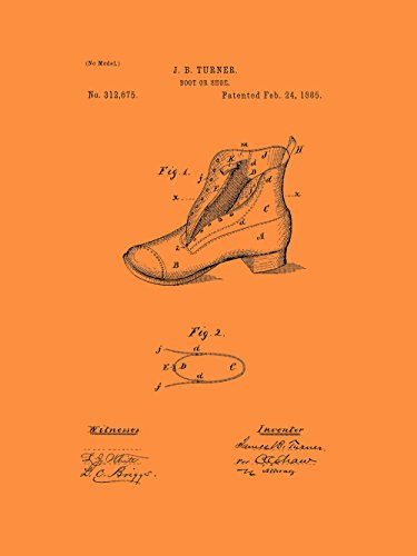 Framable Patent Art the Original Poster Art Print Footwear Shoe Boot 18in by 24in Patent Vintage PAPSP112VO, (Orange Patent Footwear)