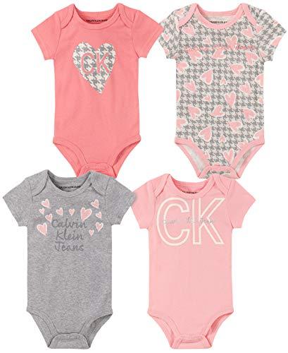 Calvin Klein Baby Girls 4 Pieces Pack Bodysuits, Pink/Gray/Print, 0-3 Months
