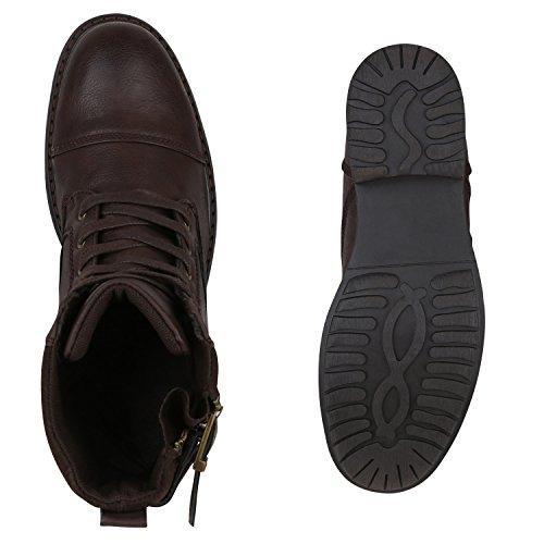 Herren Worker Boots Schnürstiefeletten Leder-Optik Blockabsatz Profilsohle Schnürer Schuhe Schnallen Schnürboots Flandell Dunkelbraun Zipper