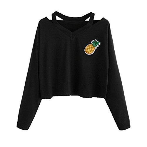Spbamboo Women Casual Pineapple Printed Shirt Long Sleeve Top Blouse Crop Tops by Spbamboo