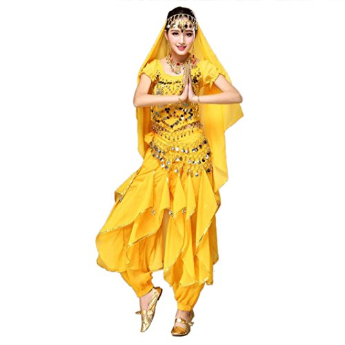 [Vanvler Women Belly Dance Outfit Costume India Dance Clothes Top+Pants With Sequins (Yellow)] (India Costume Female)