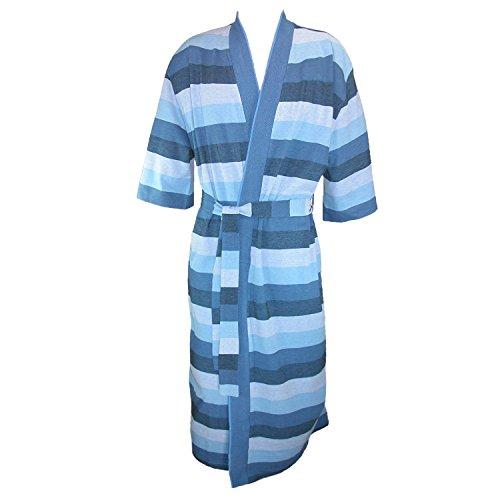 Striped Mens Robe (Majestic International Mens Cotton Knit Striped Kimono Robe, Deep Water)