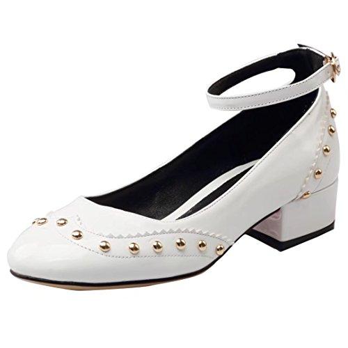 AIYOUMEI Damen Lack Pumps mit Nieten und 3cm Absatz Chunky Heels Pumps Riemchen Schuhe Damen