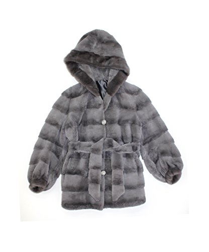 611962 New Grey Sheared Rex Rabbit Mink Fur Parka Hood Jacket Coat ()