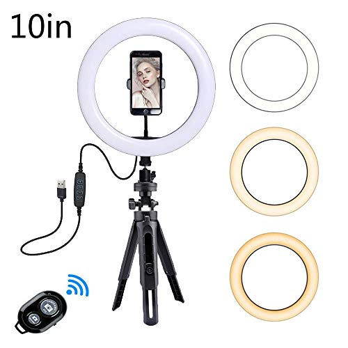 "Bcamelys 10"" Ring Light with Tripod Stand & Phone Holder"