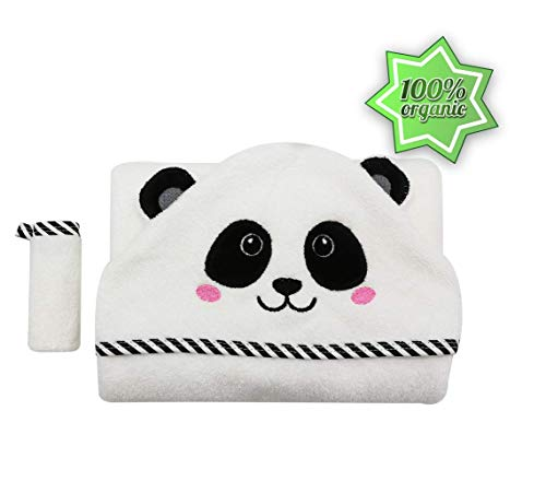 Hooded Baby Towel Set with Panda or Bear Face & Ears for Boys, Girls. 100% Soft Bamboo. Super Warm, Thick 500 GSM, 35x35