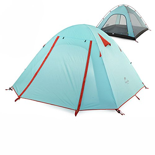 Azarxis 1 2 3 4 Person Man Tents 3 Season Easy Set Up Large Space Two Doors Waterproof Lightweight Professional Double Layer Aluminum for Family Backpacking Camping Hiking (Powder Blue, 1-2 Person)