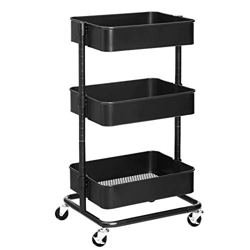 SONGMICS 3-Tier Metal Rolling Cart, Utility Cart, Kitchen Cart with Adjustable Shelves, Storage Trolley with 2 Brakes, Easy Assembly, for Kitchen, Office, Bathroom, Black UBSC60B