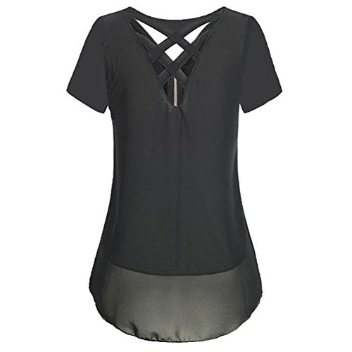 Chemisier Casual Noir clair Mousseline Back Manches t Cross Col Top Femme Courtes Vertvie T de Shirt Soie Blouse en V Fermeture qwnRTWYFAx