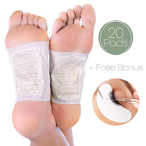 Foot Pads | All Natural Body Cleansing | 20 Pain & Stress Relieving Patches + (Bonus) REJUVENATING Eye PAD | 100% Organic and Natural FEET Patch (Kinoki Pads Eye)