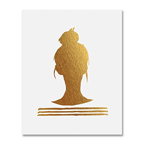 Top Knot Silhouette Gold Foil Decor Print Woman Bun Hairstyle Stripes French Chic Girly Office Poster Wall Art 8 inches x 10 inches