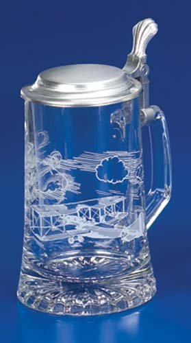Aviator Etched German Glass Beer Stein