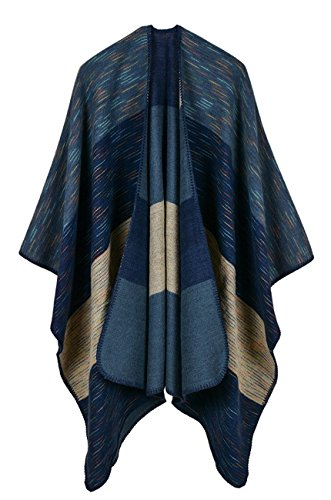 Women's Wide Stripes Cashmere Blanket Ponchos Color Block Faux Pashmina Shawls Capes Scarf Cardigans Navy Blue One Size