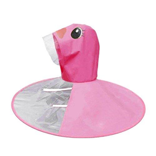 Lanhui Baby Cute Rain Coat UFO Child Umbrella Hat Magical Hands Free Raincoat (Hot Pink, S)
