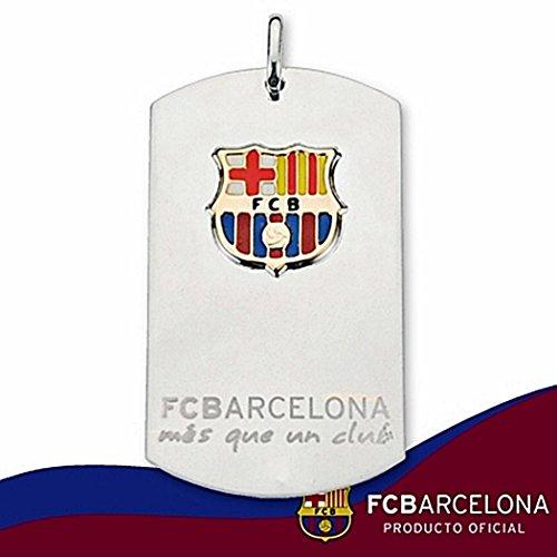 Plaque pendentif bouclier F.C. Or Argent Barcelona grande loi vitrée [6898GR] - Modèle: 10-008 - personnalisable - ENREGISTREMENT INCLUS DANS LE PRIX