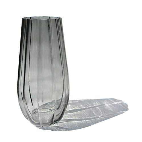 CN CRAFTS Hand-Made Blown Ribbed Pumpkin Shape Art Bud Glass Vase, Modern Simple Style Flower Arrangement Container for Home and Office Tabletop Decor.