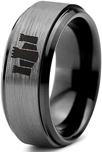 Jay Seiler Titanium Grooved 8mm Black IP-Plated Brushed /& Polished Band Titanium 9 Size