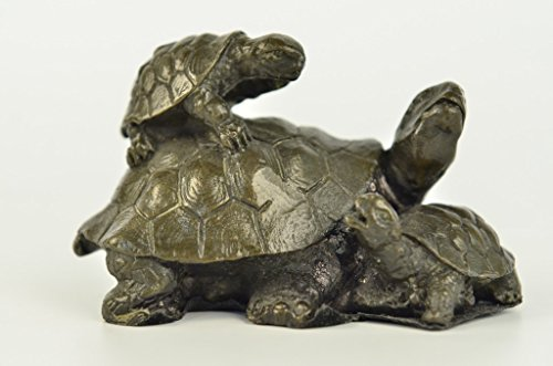 Sea Turtle Bronze Sculpture (Handmade European Bronze Sculpture Original Mother Turtle with Baby hatchling Reptile Sea Bronze Statue -JPYRD-247-Decor Collectible Gift)