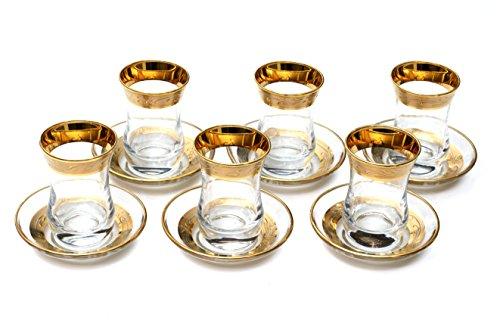 Original Turkish Tea Glasses with Saucers Sets (6 Pcs) (Gold) 3 OZ
