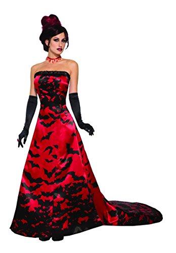 Vampiress Wig (Forum Women's Vampire Queen Costume Dress, Red/Black, STD)