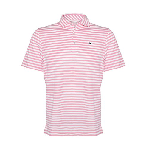 Vineyard Vines Men's Performance Striped Knit Polo Shirt (Beach Rose/Lake Stripe, Small) Classic Beach Stripe Shirt