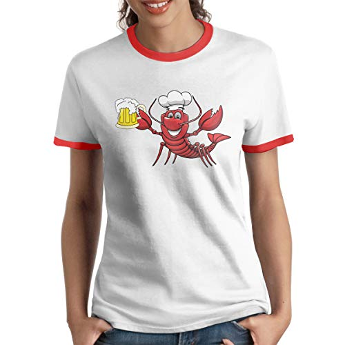 GuiJia Ye Women's Short Sleeve Ringer T-Shirt Crawfish Beer Popular Summer Baseball Tee Red ()