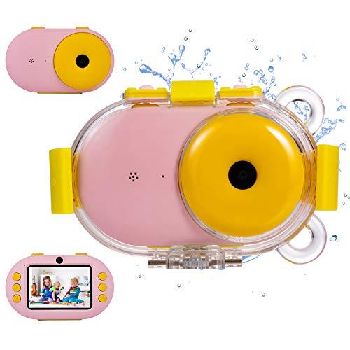 omzer Kids Camera Waterproof Gift Cameras with Shockproof Fogproof Shell for 3-10 Years Old Girls Boys, Underwater Digital Cameras for Kids Beach Snorkeling, Pink(16GB Memory Card Included) (Best Waterproof Shockproof Camera)