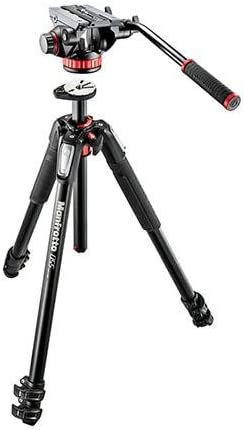 Manfrotto MT055XPRO3 Aluminium Tripod Legs with MVH502AH Video Head Complete Tripod Units at amazon