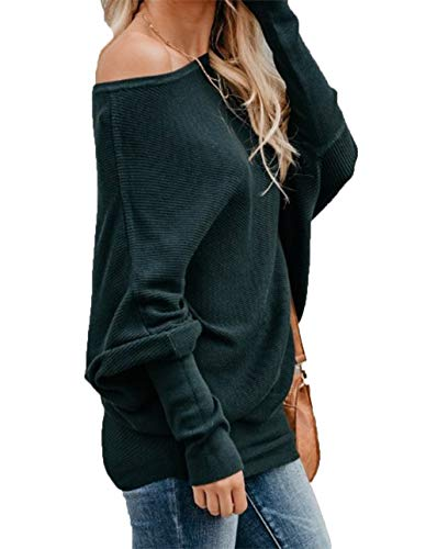 al Bat Wing Sleeve Knitted One Shoulder Loose Pullovers Sweater Jumper Sweatershirt Green ()