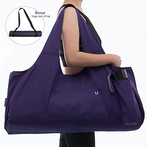 Uhawi Yoga Mat Bag Large Yoga Mat Tote Sling Carrier with 4 Pockets Fits Mats with Multi-Functional Storage Pockets Light and Durable?with Yoga Mat Carrying Strap? (Purple)