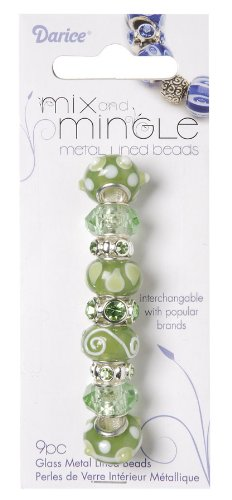 Darice Mix and Mingle Glass Lined Metal Beads, Light Sage
