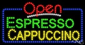Espresso Cappuccino Open LED Sign (High Impact, Energy Efficient) -