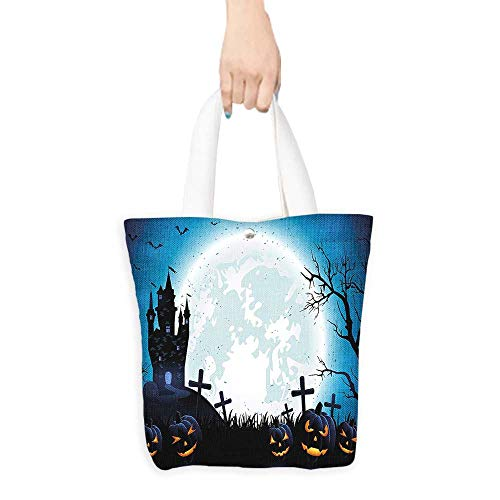 Custom Printed Grocery Tote Bag Spooky Concept with Halloween Icons Old Celtic Harvest Festival Figures in Dark Image Eco-Friendly Multi Purpose W16.5 x H14 x D7 INCH ()