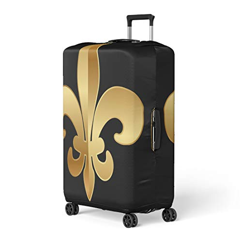 Pinbeam Luggage Cover Flower Gold Fleur De Lis on Black Lys Travel Suitcase Cover Protector Baggage Case Fits 22-24 inches