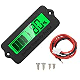 Icstation 12V-48V Lead Acid Capacity Percent Monitor Lithium Battery Tester Status Indicator Green Backlight LCD Display Power Energy Meter
