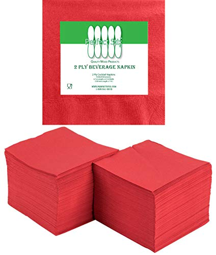 Perfectware 2 Ply Red-200 Red Beverage Napkin Package of 200ct- 2-Ply, 2.5