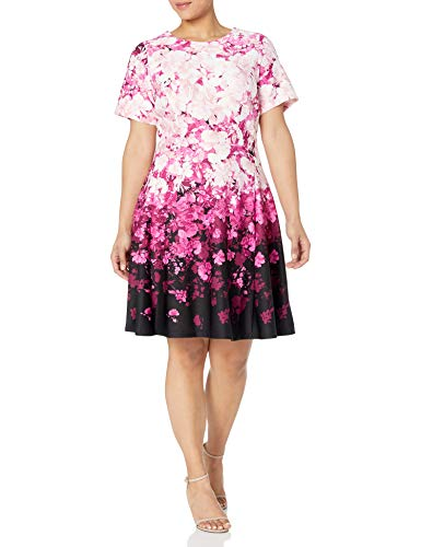 Gabby Skye Women's Plus Size Short Sleeve Round Neck Floral Print Fit and Flare Dress, Black/Wine Multi, 14W