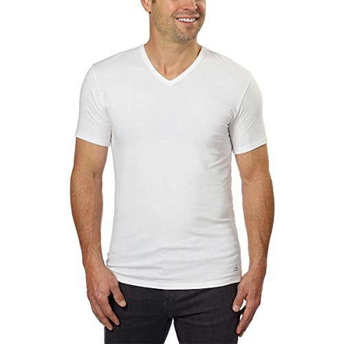 Undershirts V-neck Cotton T-shirts Mens (Calvin Klein Cotton Stretch V-Neck, Classic Fit T-Shirt, Men's (3-pack) (White or Black) (White, Medium))