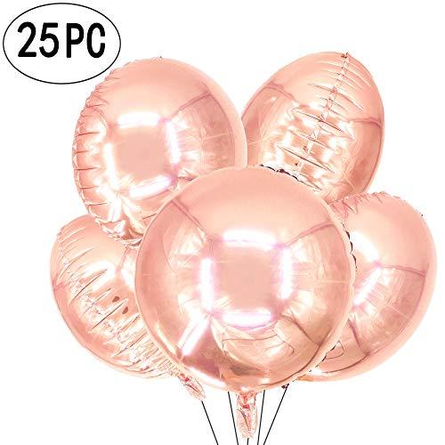 AKIO CRAFT 18 inch Rose Gold Round Foil Mylar Balloons Helium Metallic Balloons Nursery Baby Shower Wedding Birthday Party Favors Balloons Decorations, 25pc - Metallic Mylar Balloon