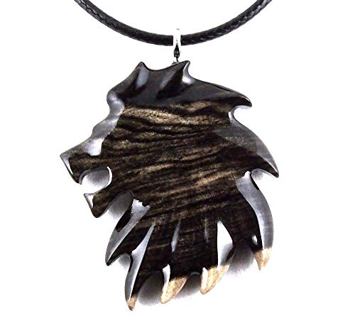 Lion Pendant Necklace Totem Animal Mens Wood Jewelry Hand Carved in Black and White Ebony