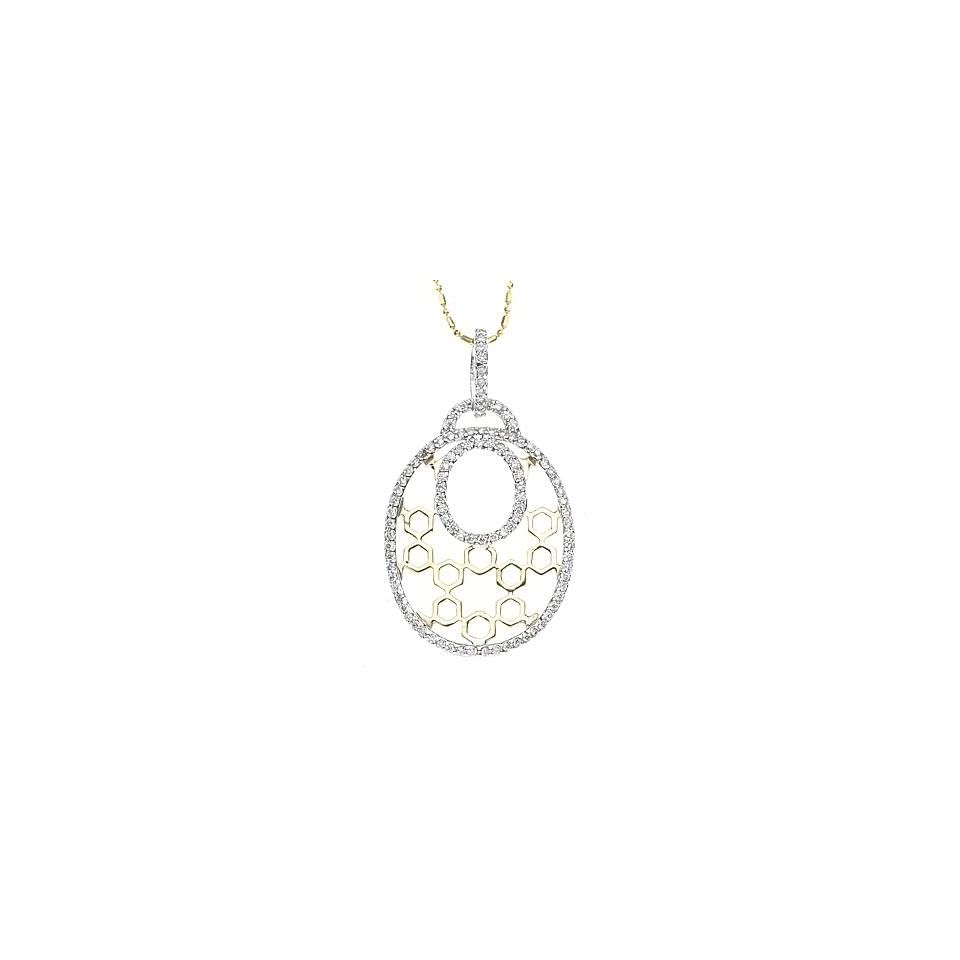 14k Two tone Gold Diamond Pendant with Chain 16 (0.80cttw, F Color, Vs Clarity)