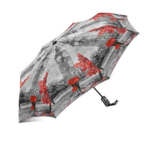 (InterestPrint Couple Under Red Umbrella on London Street Classic Big Ben Windproof Auto Open and Close Foldable Umbrella, Lightweight Portable Outdoor Sun Umbrella with UV Protection)