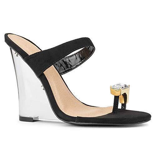 RF ROOM OF FASHION Slip On Rhinestone Toe Ring Clear Heel Platform Wedge Black Size.7