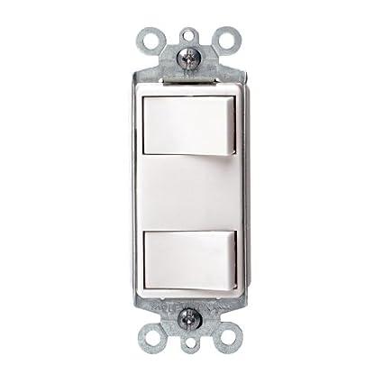 Leviton 632-1754-WSP 15A Decora Dual Rocker Switch White