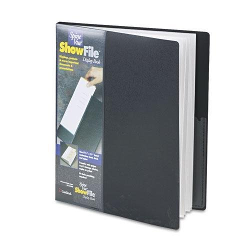 Book Sleeves Display 24 - Cardinalamp;reg; SpineVue ShowFile Display Book with Wrap Pocket, 24 Letter-Size Sleeves, Black