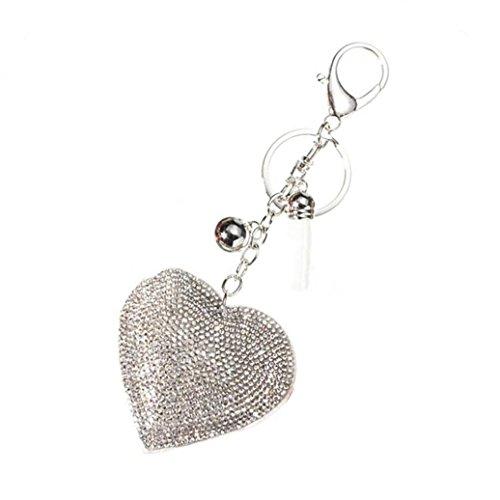 Romantic Love Pendant Charm - HEART SPEAKER Romantic Dazzling Rhinestone Love Heart Charm Pendant Fringe Keychain Keyring (White)