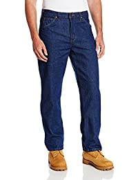 Dickies Occupational Workwear CR393RNB Denim Cotton Relaxed Fit Men's Industrial Jean with Straight Leg, Indigo Blue