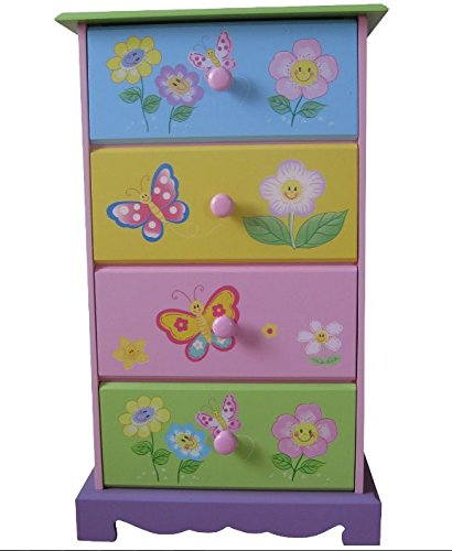 Liberty House Toys Colourful Children's Drawer Chest - Stylish Beautiful Pastel Coloured Unit - Butterflies Flowers Design - Four Spacious Drawers